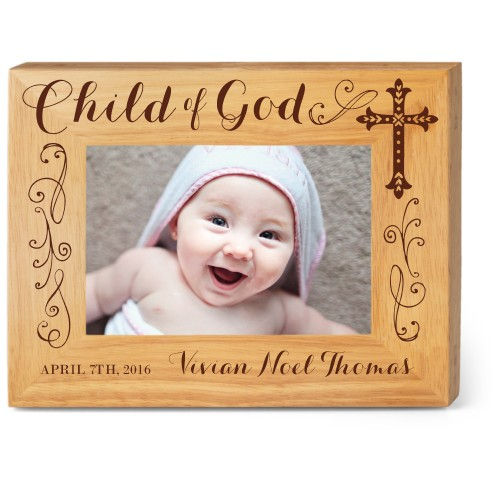 Child of God Wood Frame, - Photo insert, 9x7 Engraved Wood Frame, White