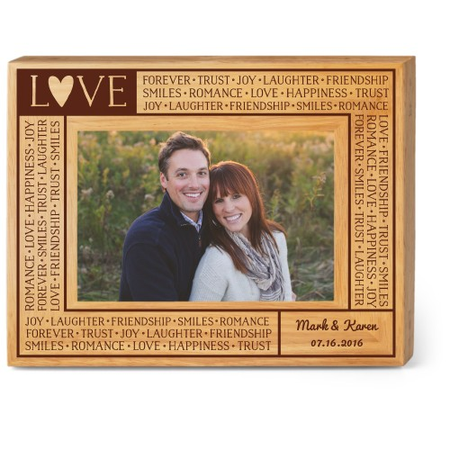 Love Letters Wood Frame, - No photo insert, 9x7 Engraved Wood Frame, White