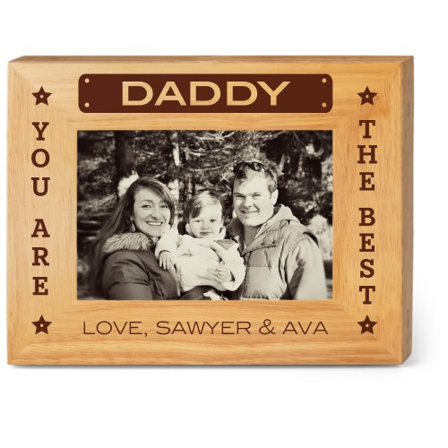 Best Daddy Wood Frame, - Photo insert, 9x7 Engraved Wood Frame, White