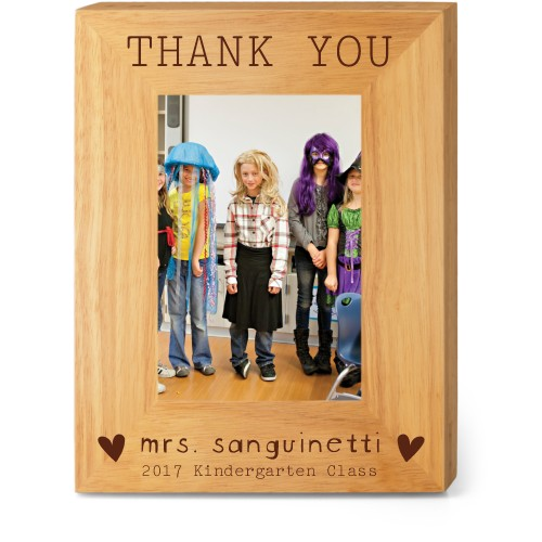 Thank You Heart Wood Frame, - No photo insert, 7x9 Engraved Wood Frame, White