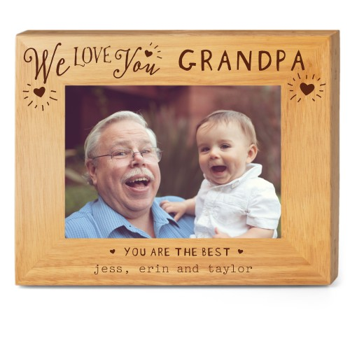 Hearts Full Grandpa Wood Frame, - Photo insert, 10x8 Engraved Wood Frame, White