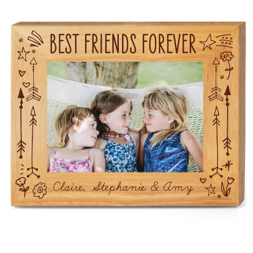 Friends Forever Wood Frame, - No photo insert, 10x8 Engraved Wood Frame, White