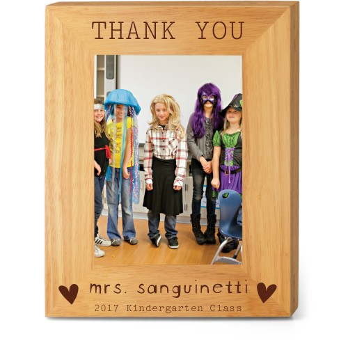 Thank You Heart Wood Frame, - Photo insert, 8x10 Engraved Wood Frame, White