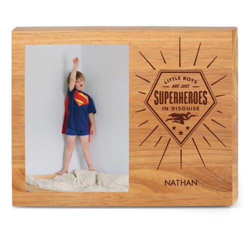 Super Heroes Wood Frame, - No photo insert, 10x8 Engraved Wood Frame, White