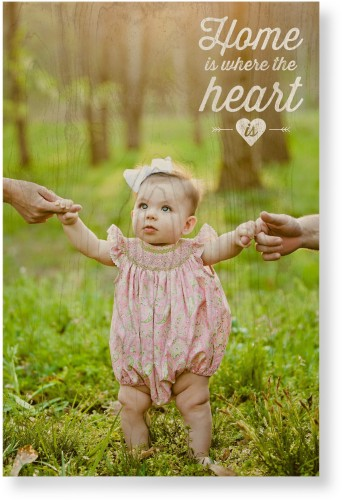 Home and Heart Wood Wall Art, Single piece, 20 x 30 inches, White