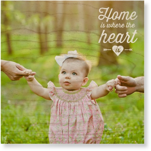 Home and Heart Wood Wall Art, Single piece, 12 x 12 inches, White
