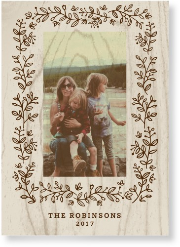 Burnt Foliage Frame Wood Wall Art, Single piece, 10 x 14 inches, Brown