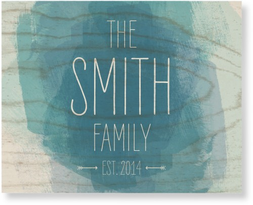 Watercolor Family Wood Wall Art, Single piece, 8 x 10 inches, Blue
