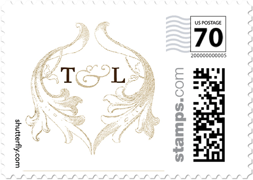 Faded Scroll Personalized Postage Stamps