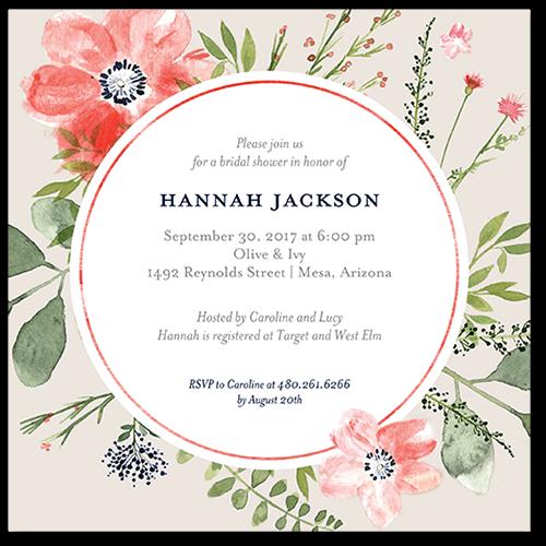 Bridal Bouquets Bridal Shower Invitation, Square Corners