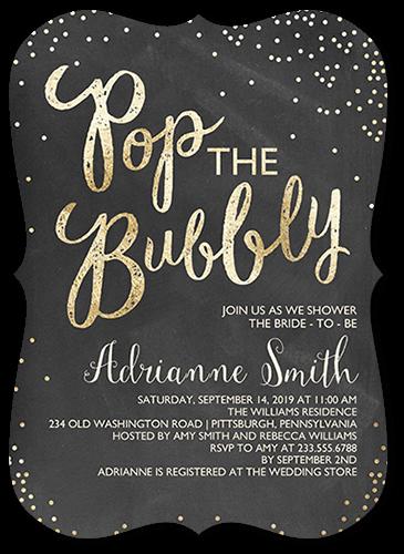 Champagne Confetti Bridal Shower Invitation, Square