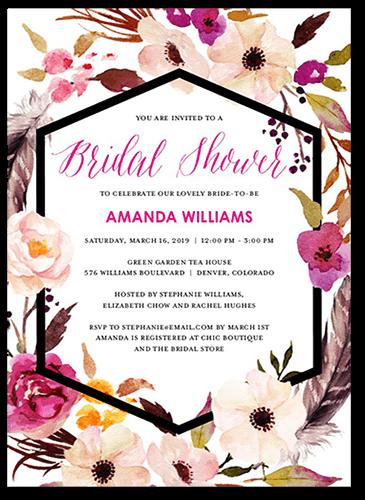 flowery circlet 5x7 bridal shower invitations shutterfly