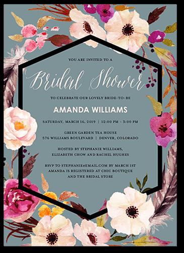 Flowery Circlet Bridal Shower Invitation, Square Corners