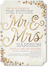 shimmering future engagement party invitation