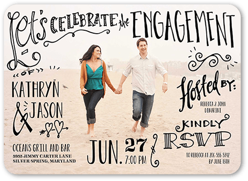 Whimsical Writing Engagement Party Invitation, Rounded Corners