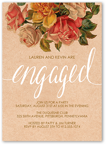 Darling Bouquet Engagement Party Invitation, Square Corners
