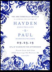 illuminated damask wedding invitation