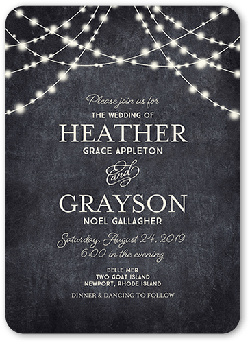 Glowing Ceremony Wedding Invitation, Rounded Corners