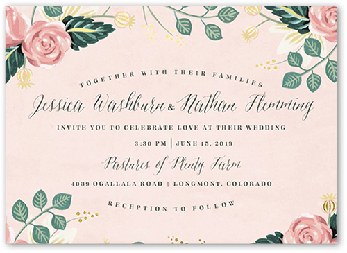 Impeccable Floral Wedding Invitation, Square Corners