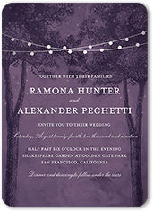 luminous evening wedding invitation