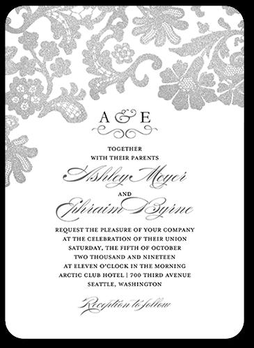 Luscious Lacing Wedding Invitation, Rounded Corners