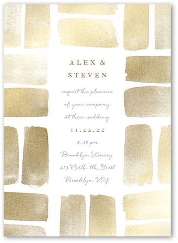Brushed Blocks invitation in Gold by Petite Alma for Wedding Paper Divas at The Wedding Shop by Shutterfly