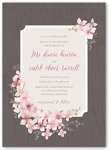 Rustic Wildflowers Wedding Invitation, Square Corners