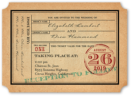Ticket To Bliss Wedding Invitation