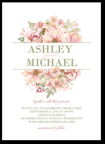 Watercolor Bouquet Wedding Invitation, Square Corners