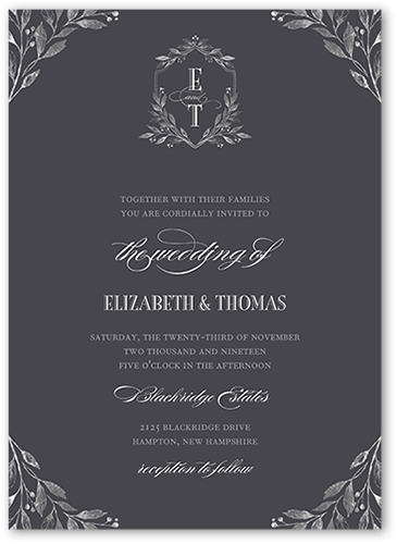Classic Herald Wedding Invitation, Square Corners