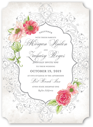 Elegant Enchantment Wedding Invitation, Ticket Corners