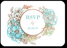 floral fringe wedding response card