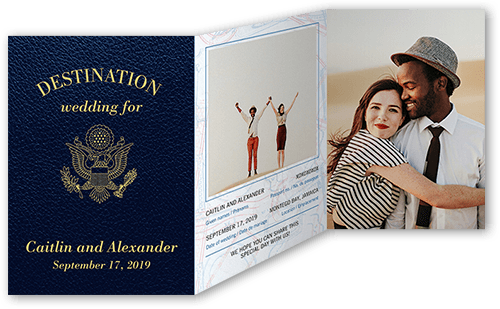 Passionate Passport Wedding Invitation, Square